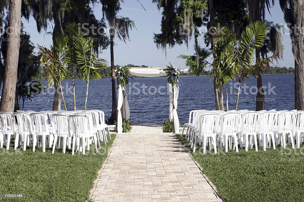 wedding on a lake stock photo