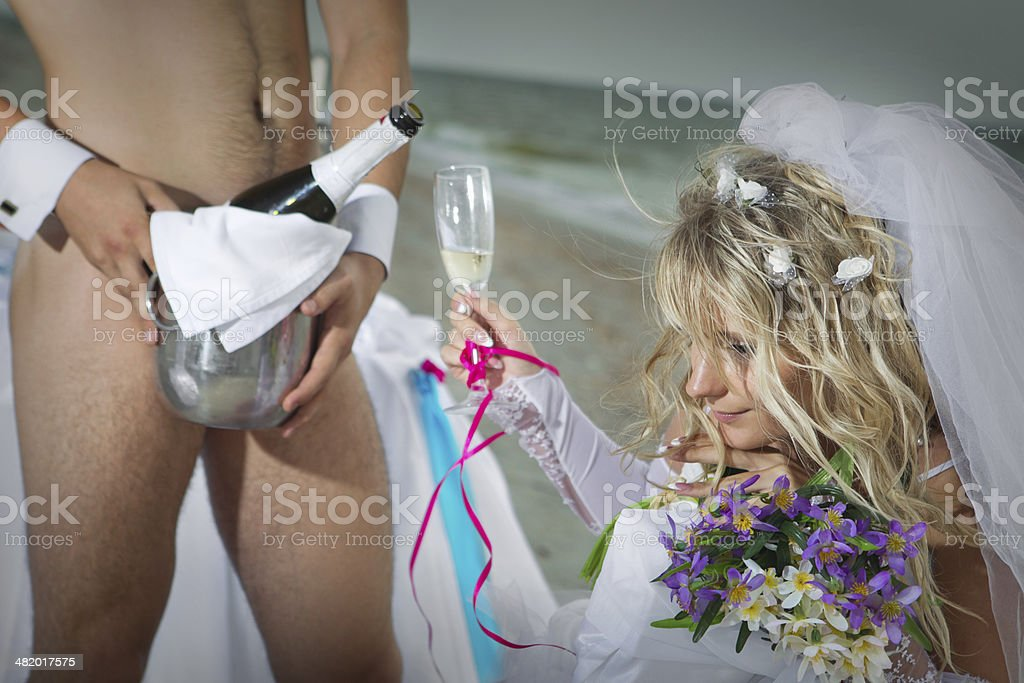 Wedding on beach stock photo