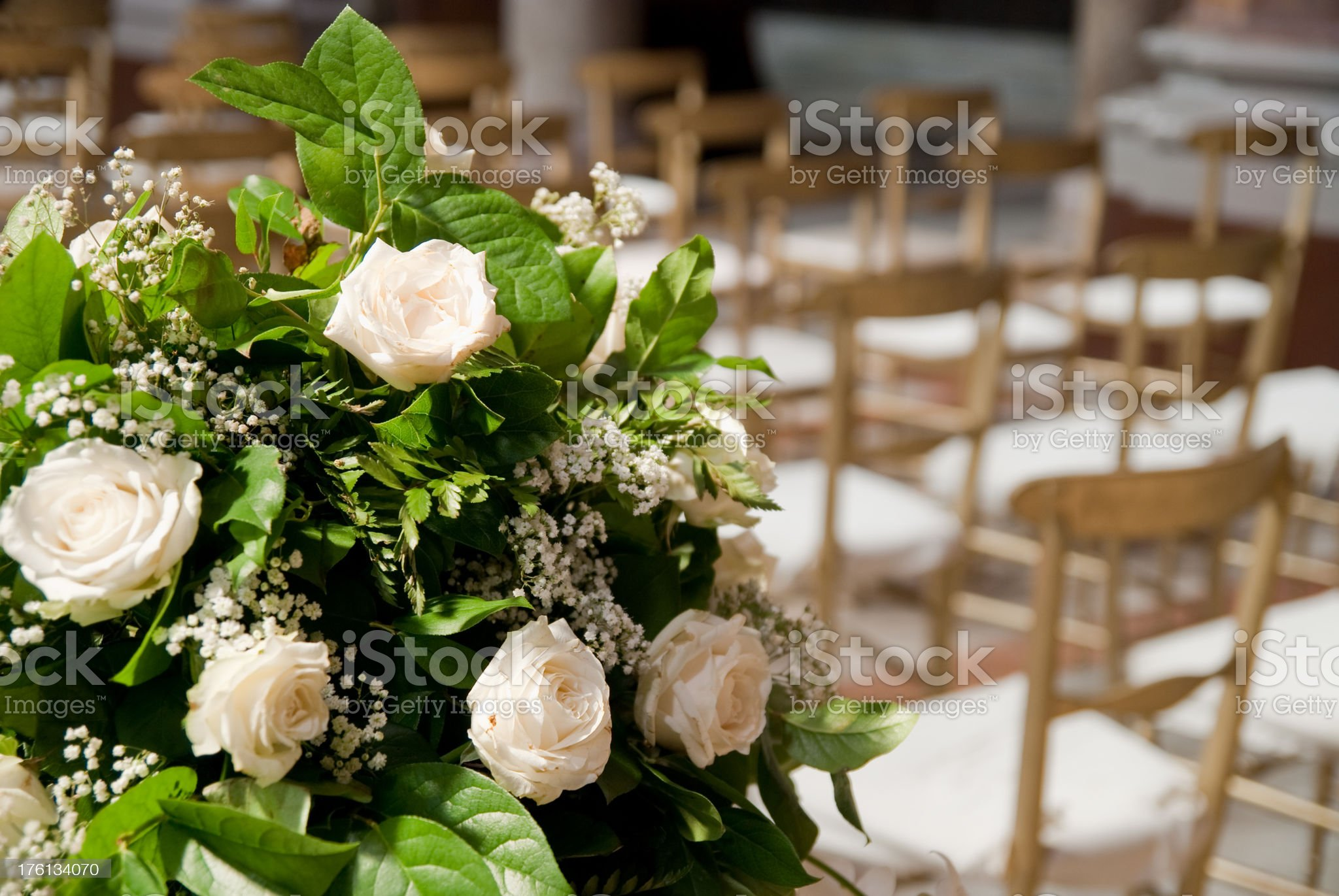wedding ornament with white roses  in church royalty-free stock photo