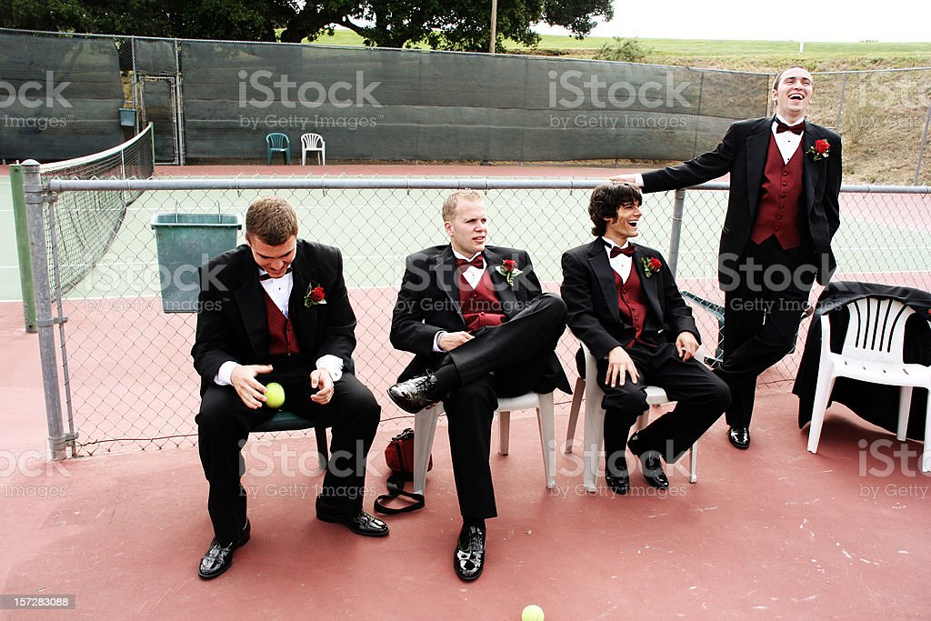 Wedding Party at a Tennis Court royalty-free stock photo