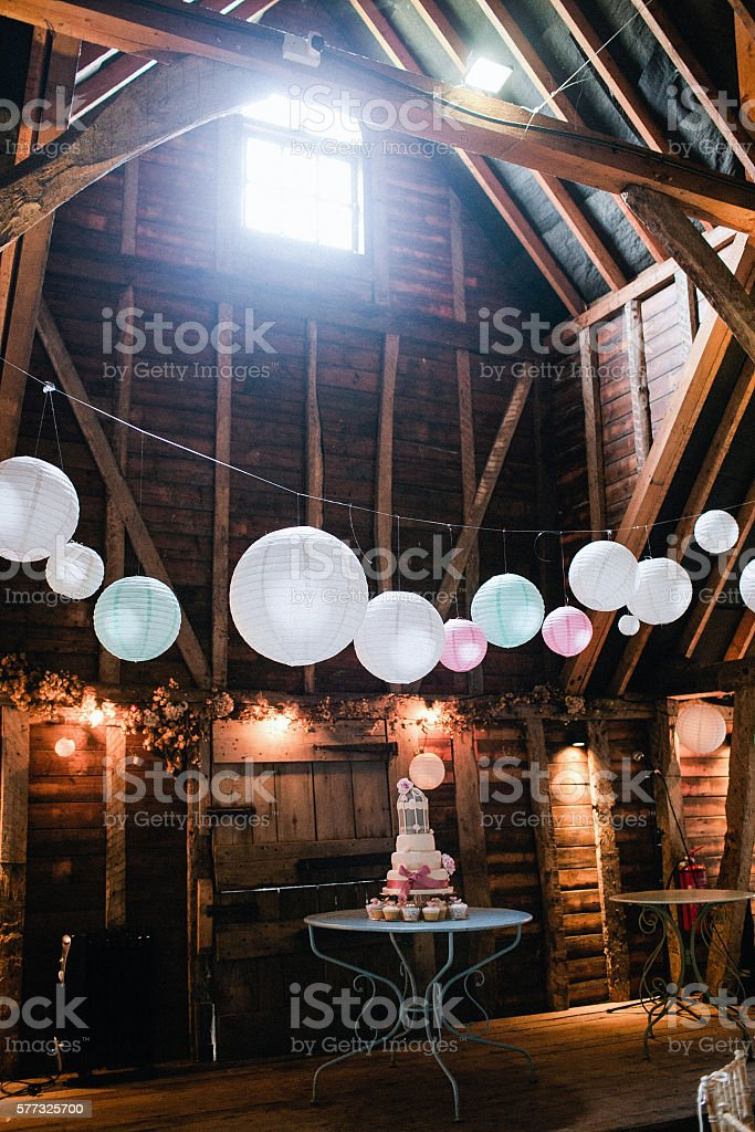 Wedding Party Decor Lantern Lights stock photo