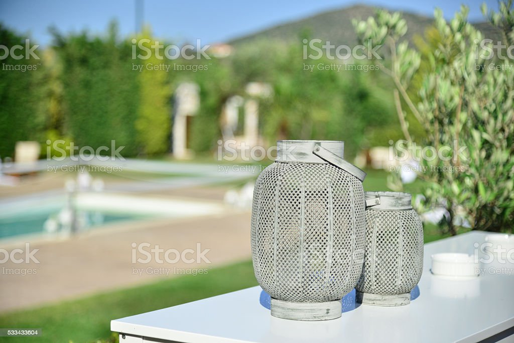 Wedding party pool side open air space ceremony stock photo