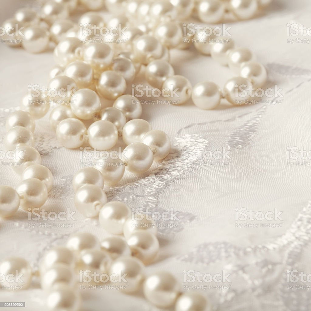 wedding pearls stock photo