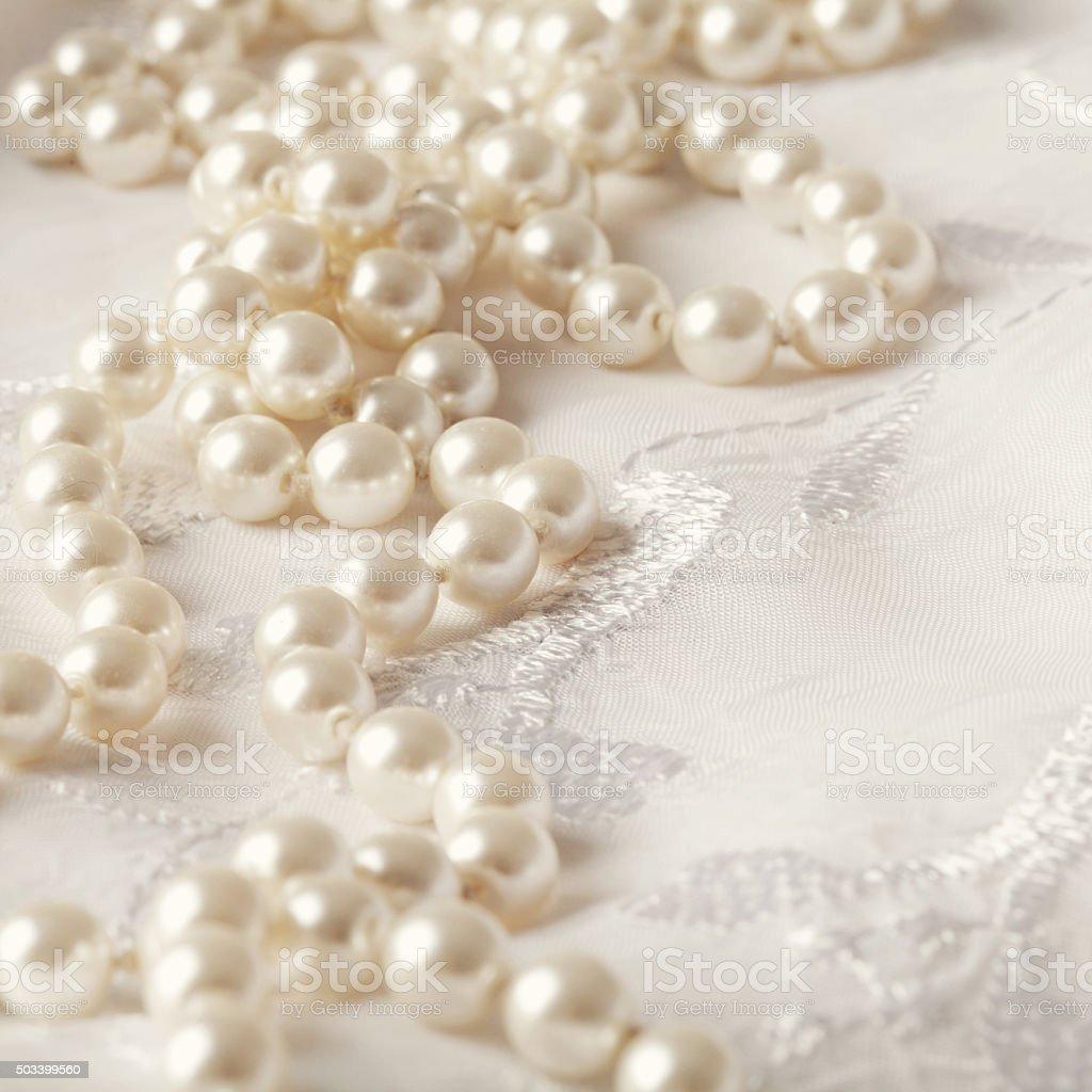wedding pearls stock photo
