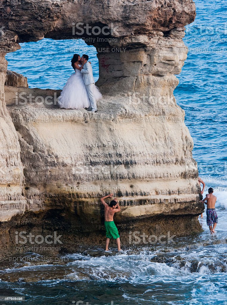 Wedding photography of new married couples stock photo
