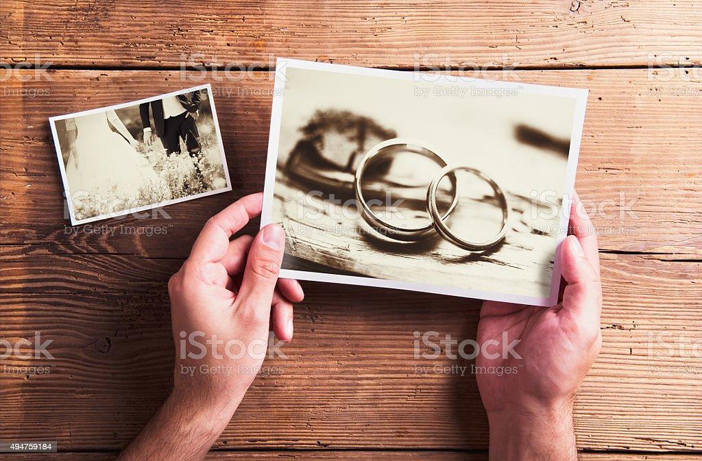 Wedding photos on a table stock photo