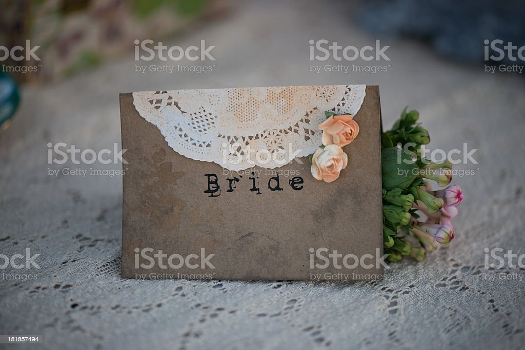 Wedding place card stock photo