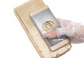 Wedding Planner app on gold phone