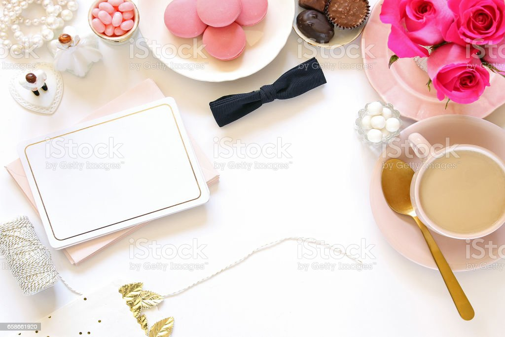 Wedding planner desk top stock photo