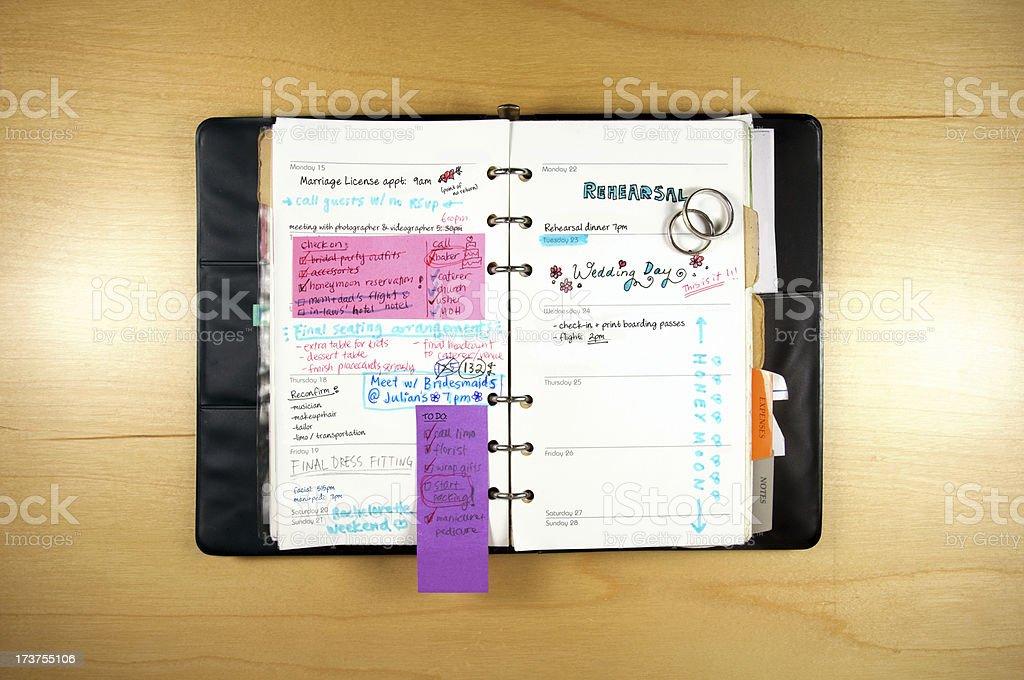 Wedding Planning Calendar stock photo