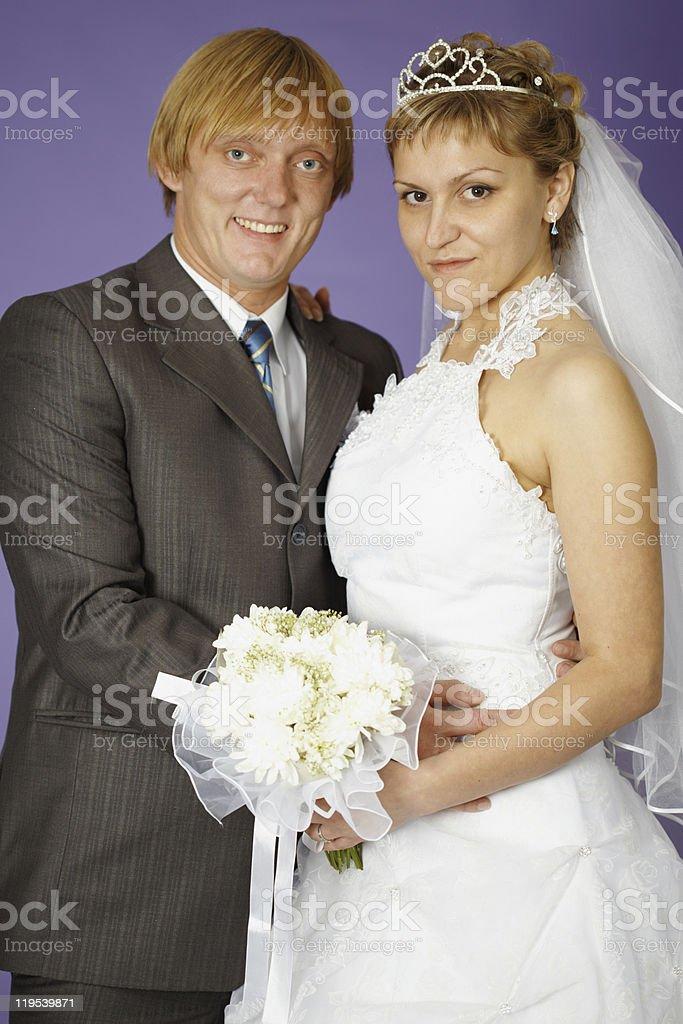 Wedding portrait of newlyweds stock photo