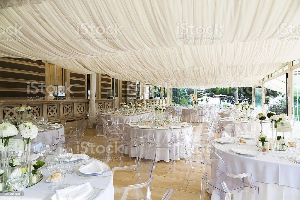 Wedding preparation banquet stock photo