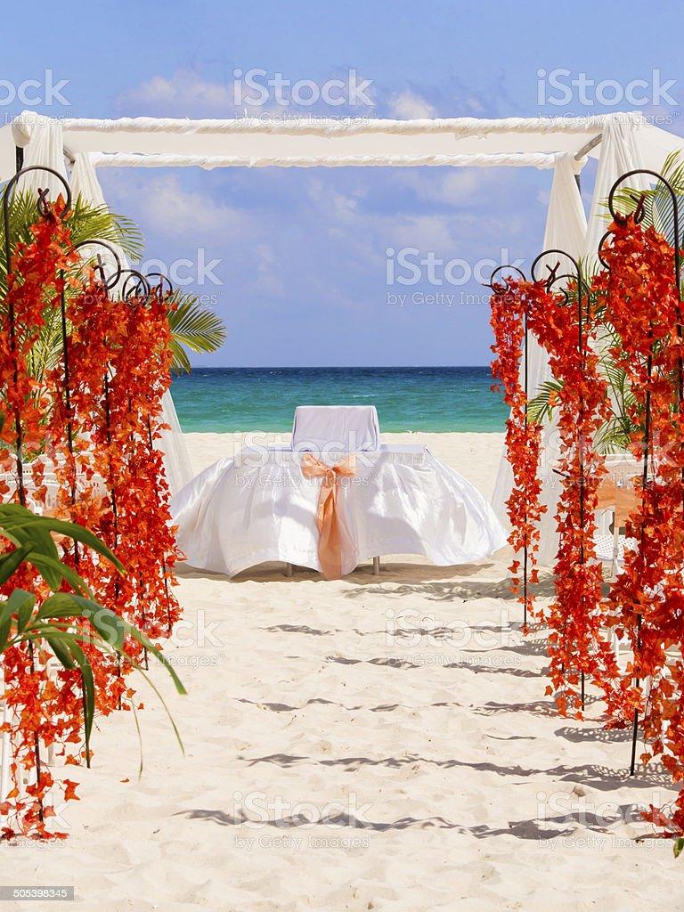 Wedding preparation on Mexican beach stock photo