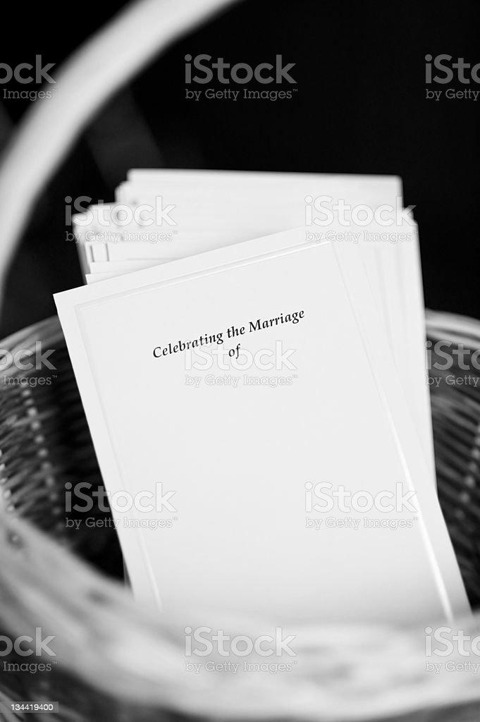 Wedding Program Cards in Basket stock photo