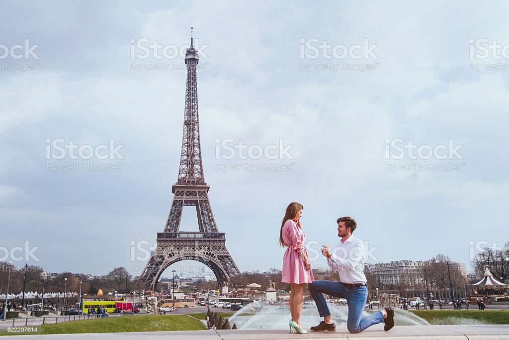 wedding proposal in Paris, engagement, marry me stock photo