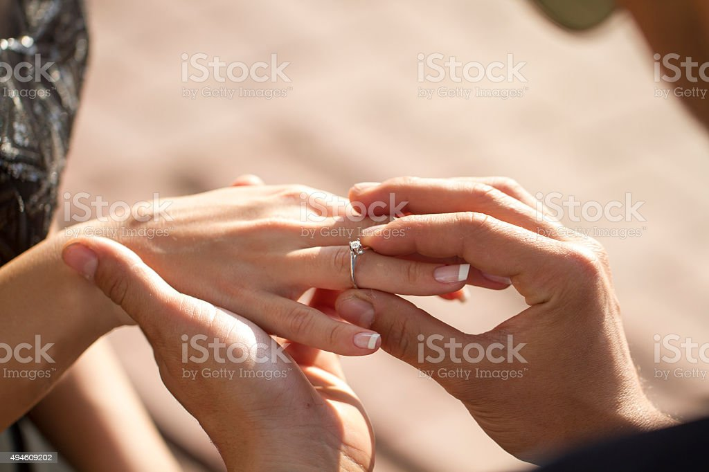 Wedding propose with dimond ring stock photo