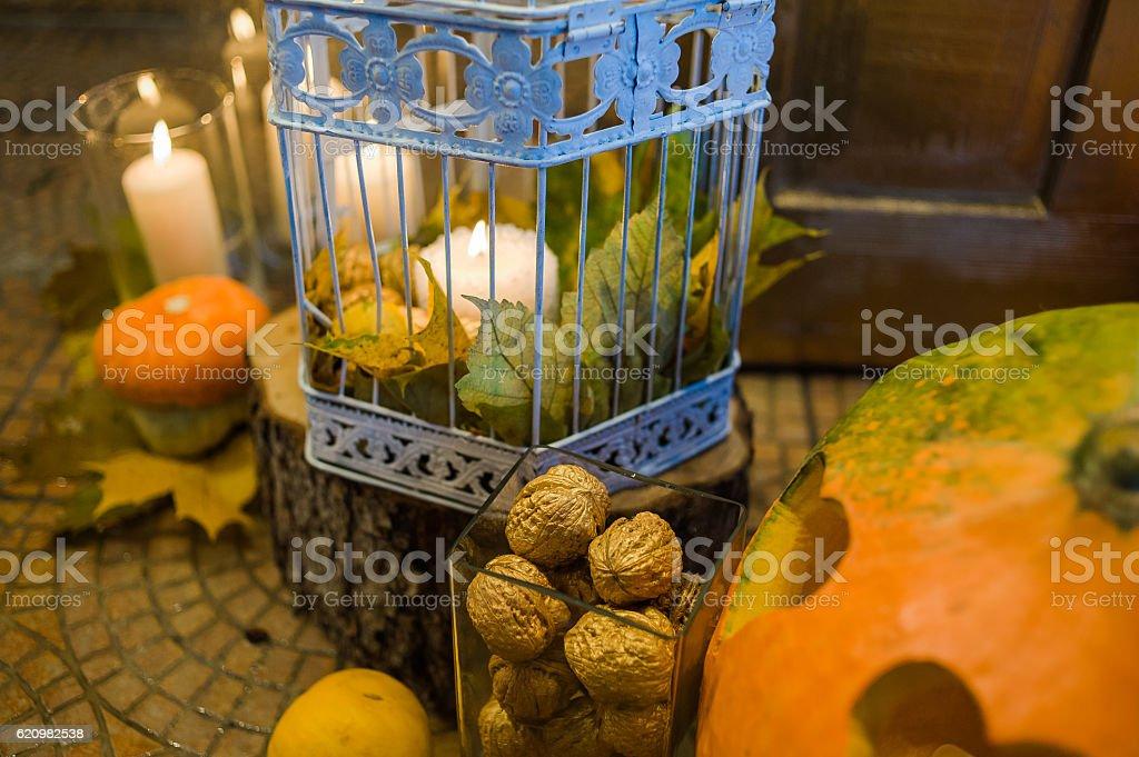 Wedding pumpkins decor stock photo