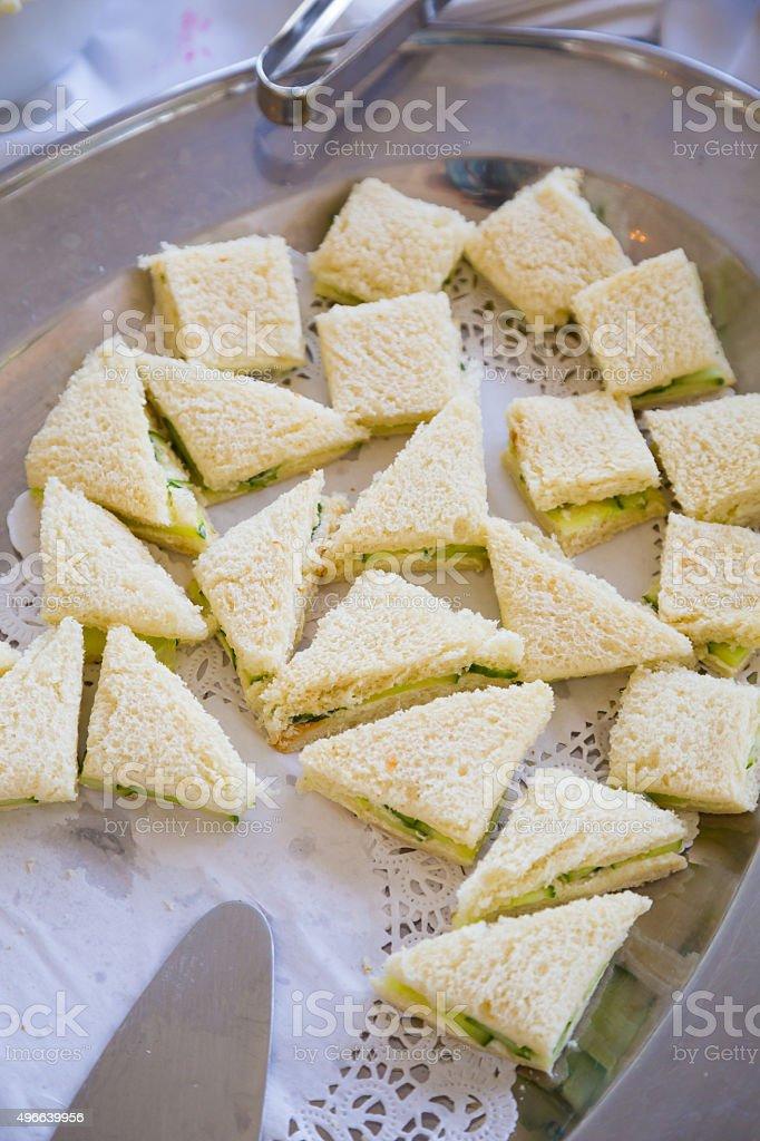 Wedding Reception Chicken Salad Sandwiches stock photo