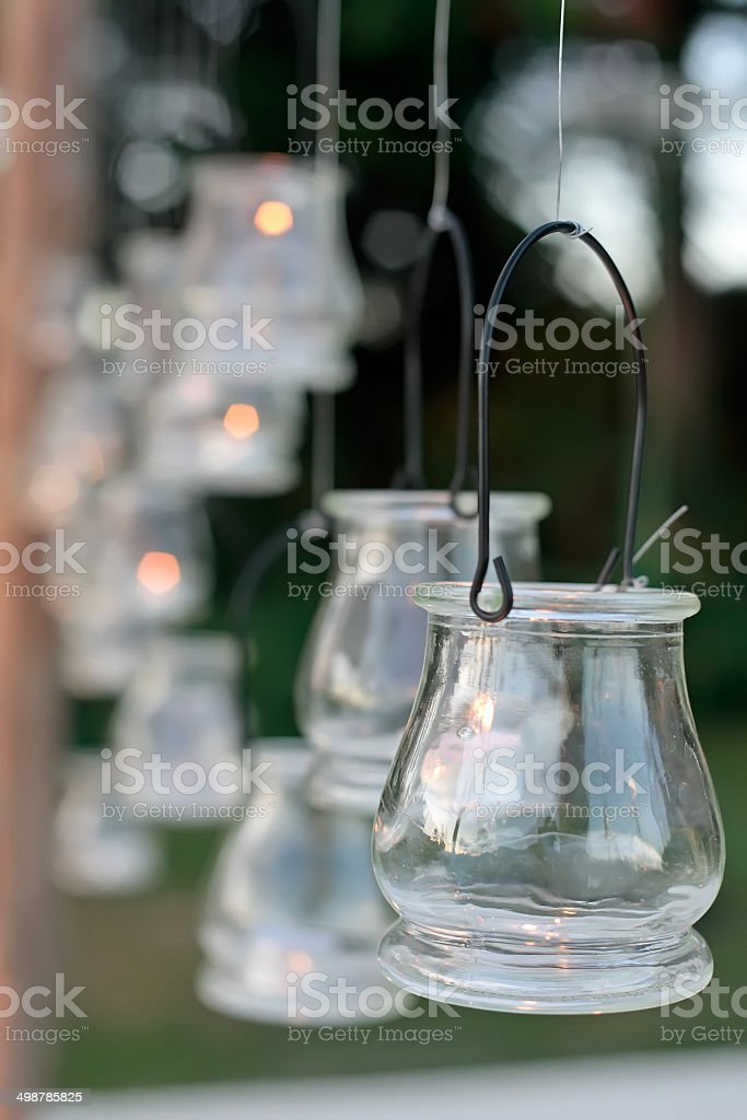 Wedding reception decorated with glass candle holder stock photo