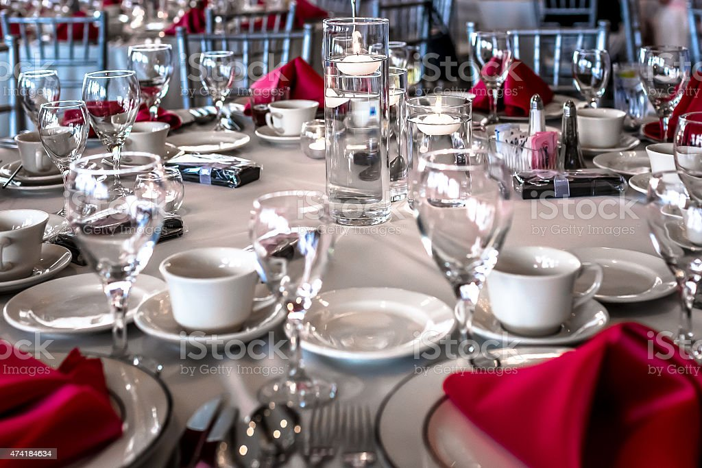 Wedding Reception Guest Table stock photo