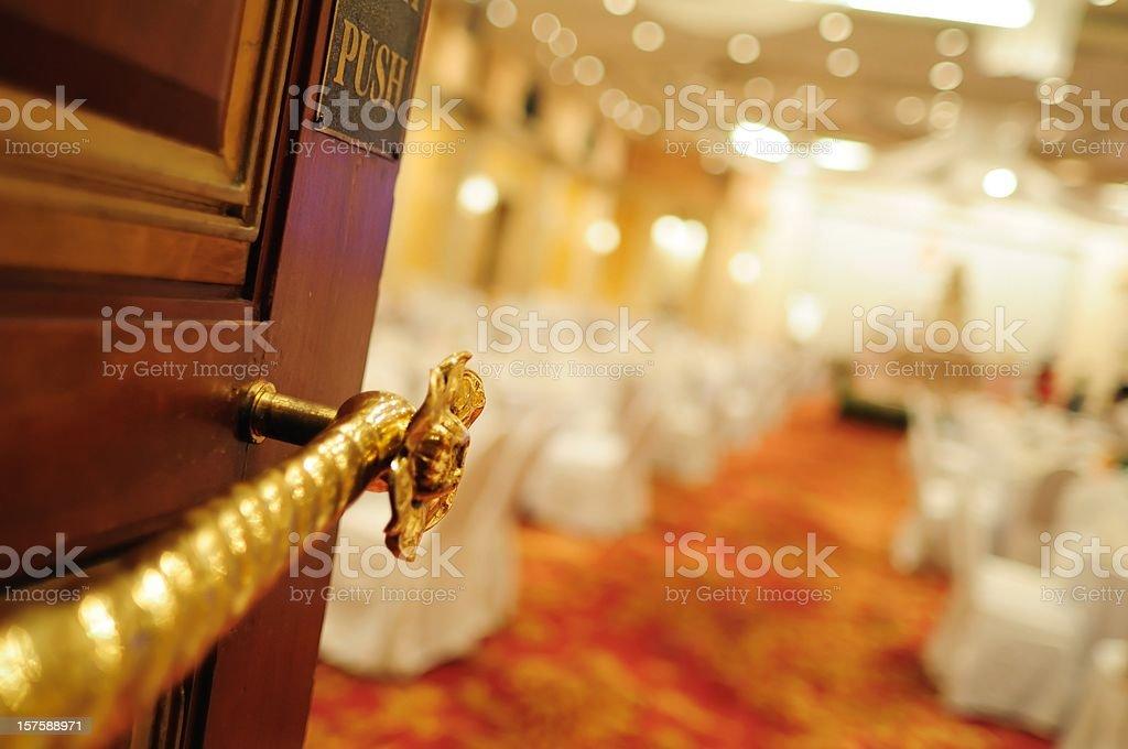 Wedding reception hall entrance focus at the door stock photo