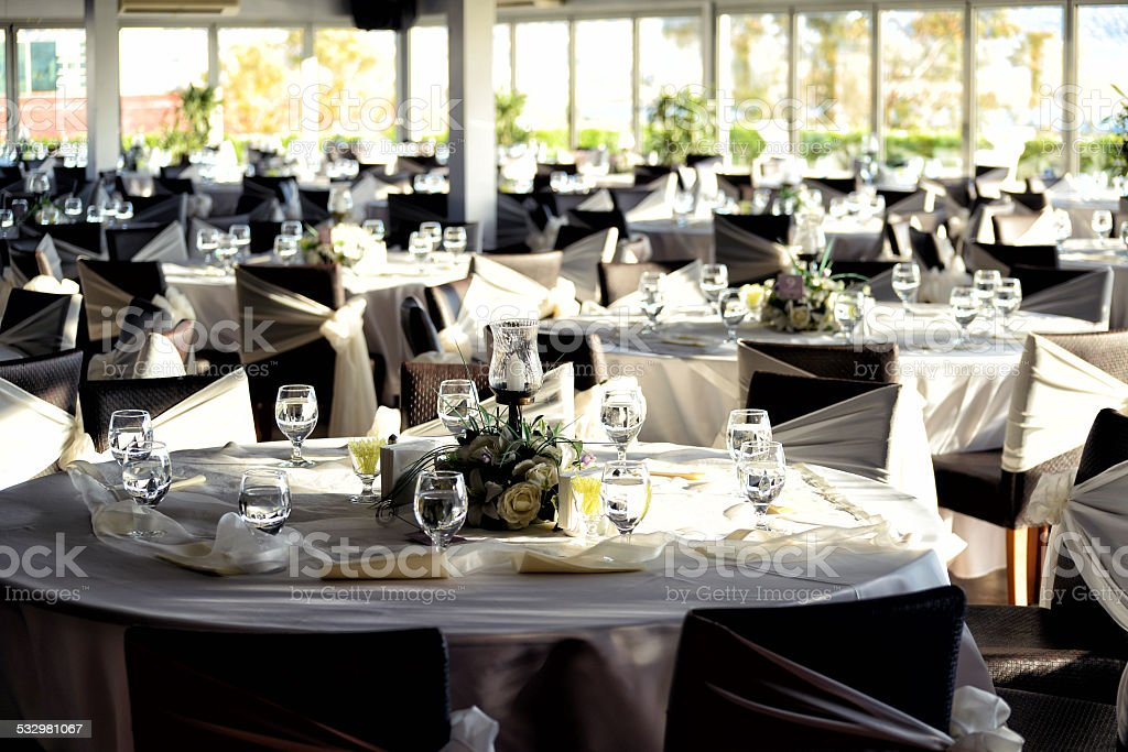 Wedding Reception Hall Table Setting stock photo