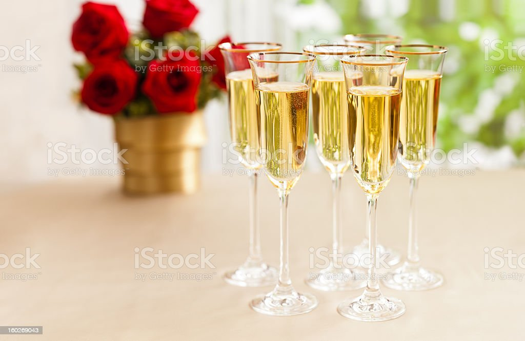 Wedding reception setting with champagne royalty-free stock photo