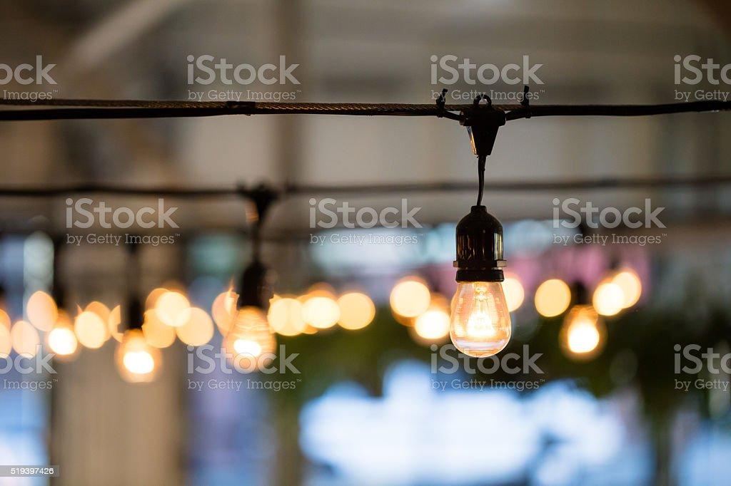 Wedding Reception String Lights stock photo