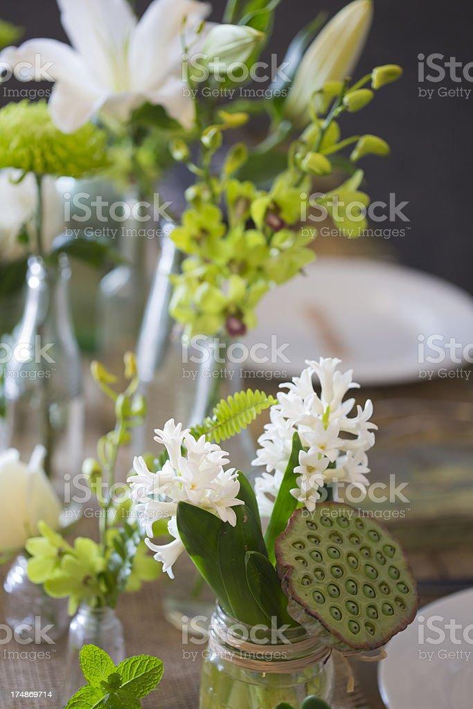 Wedding Reception Table Flowers stock photo