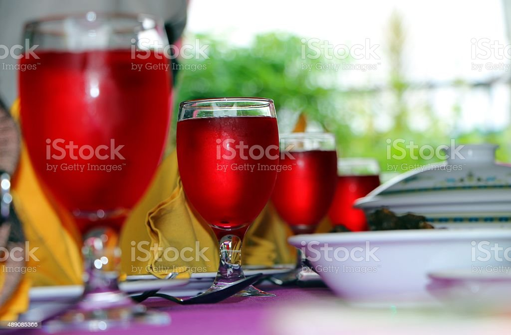 Wedding reception table setting stock photo