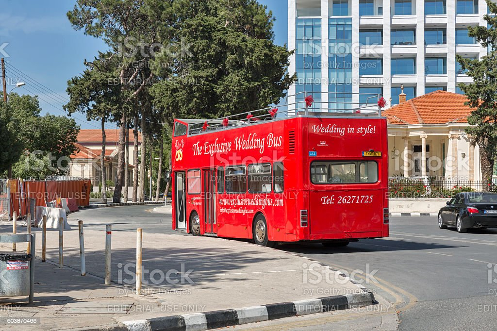 Wedding red bus in Paphos, Cyprus. stock photo