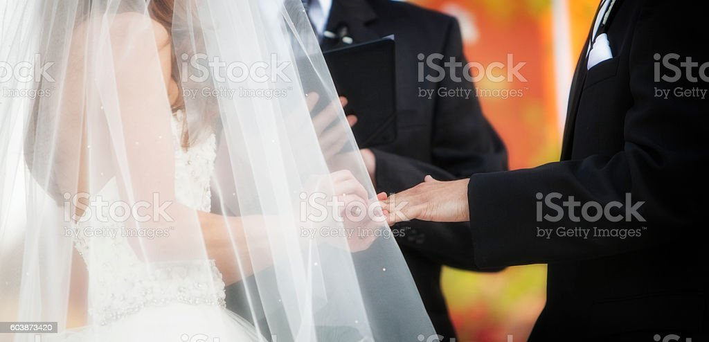 Wedding Ring Exchange Horizontal Banner stock photo