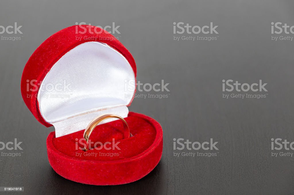 Wedding ring in a box stock photo