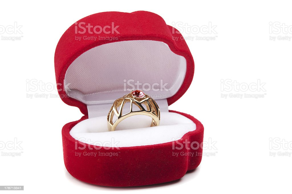 wedding ring in red box royalty-free stock photo