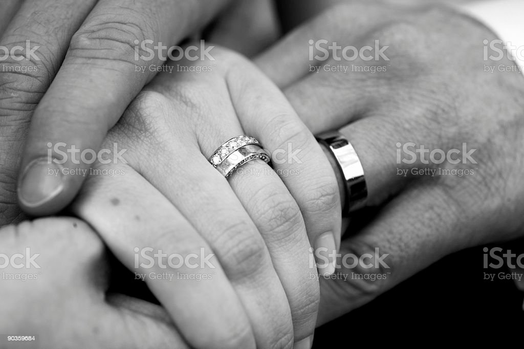 Wedding ring on hands royalty-free stock photo