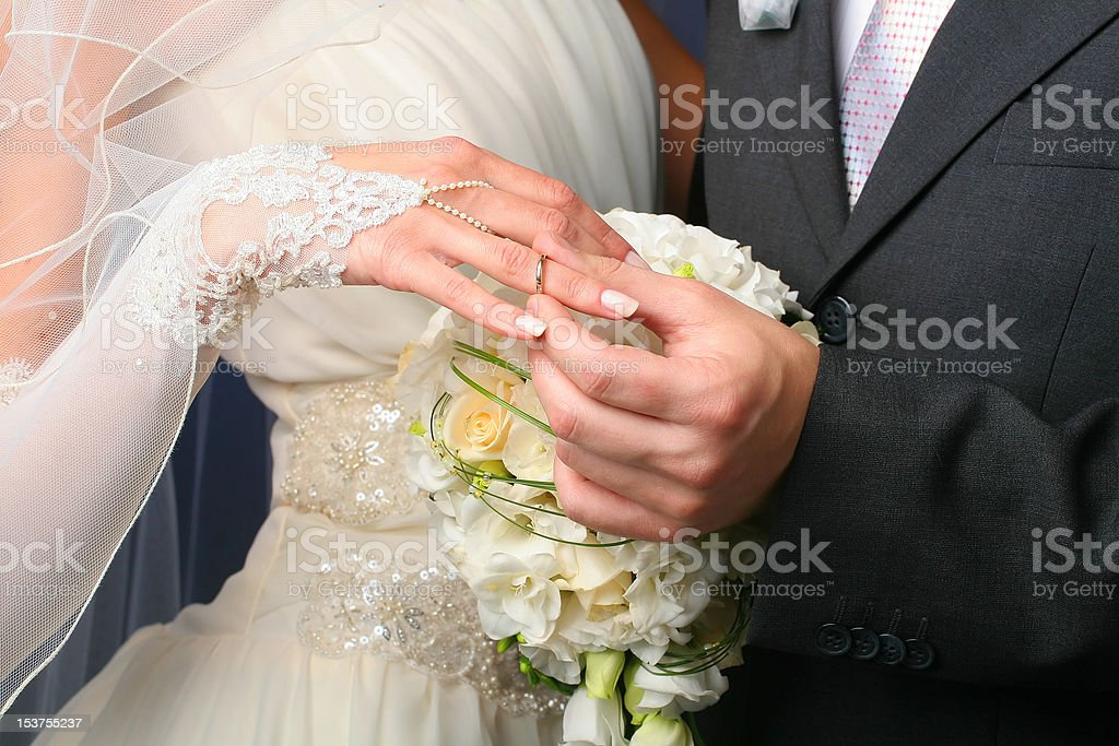 Wedding Ring on Her royalty-free stock photo