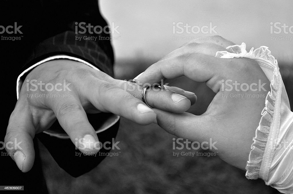 Wedding ring on the groom's finger royalty-free stock photo