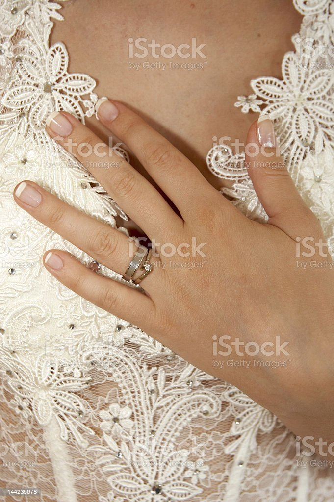 Wedding ring on the hand royalty-free stock photo