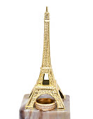 Wedding ring on the statue Eiffel Tower