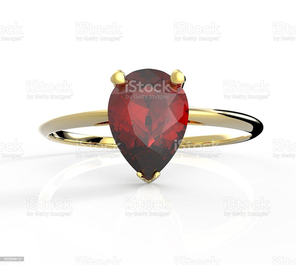 Wedding ring wiith diamond. 3D illustration stock photo