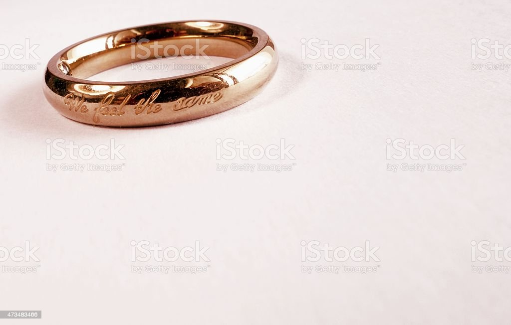 Wedding ring with inscription. stock photo