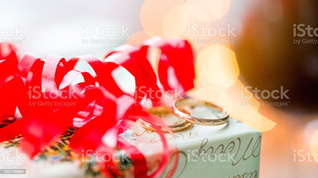wedding rings. a celebratory concept for your design. stock photo