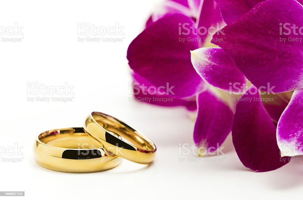 Wedding rings and orchids royalty-free stock photo