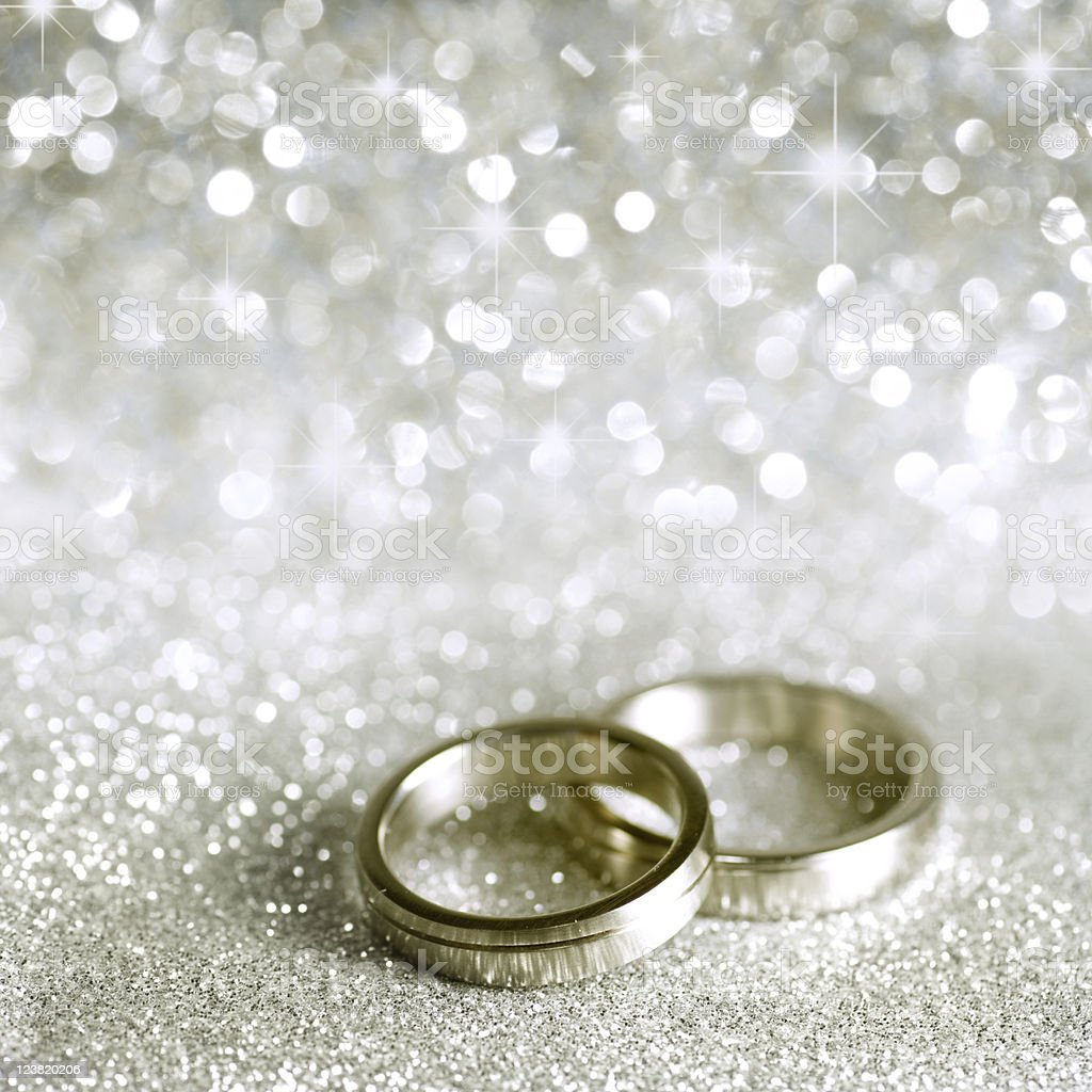 Wedding rings and stars in silver stock photo
