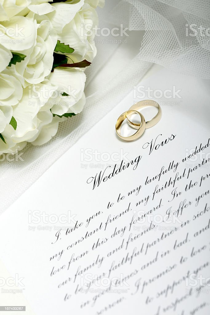Wedding Rings and Vows stock photo
