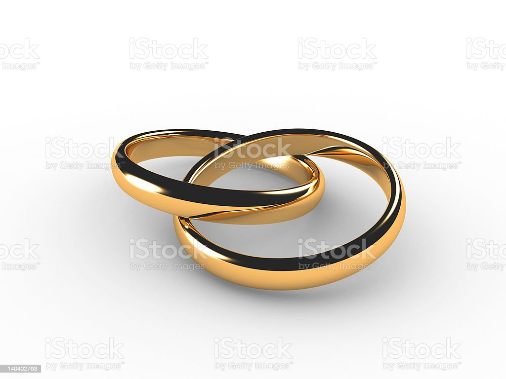3D wedding rings chained together stock photo