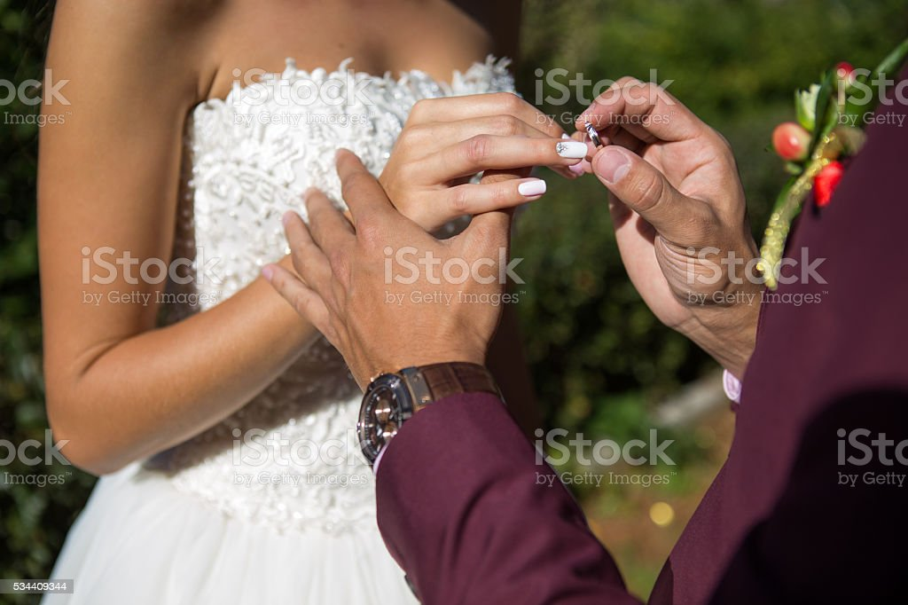 wedding rings hands stock photo