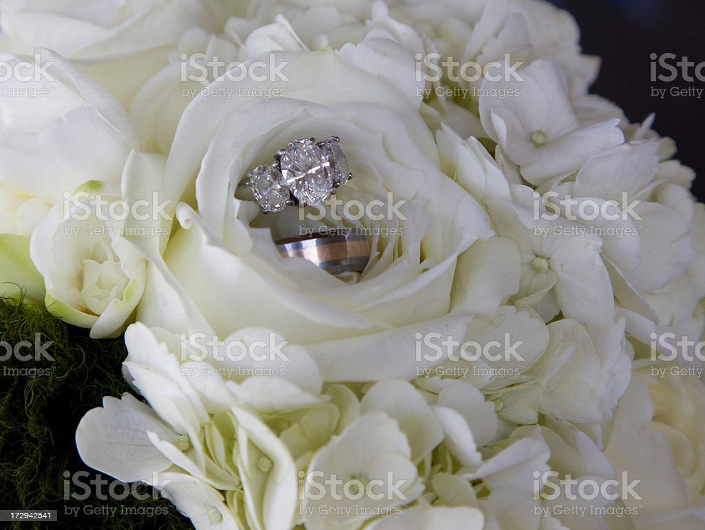 Wedding Rings in a Flower royalty-free stock photo
