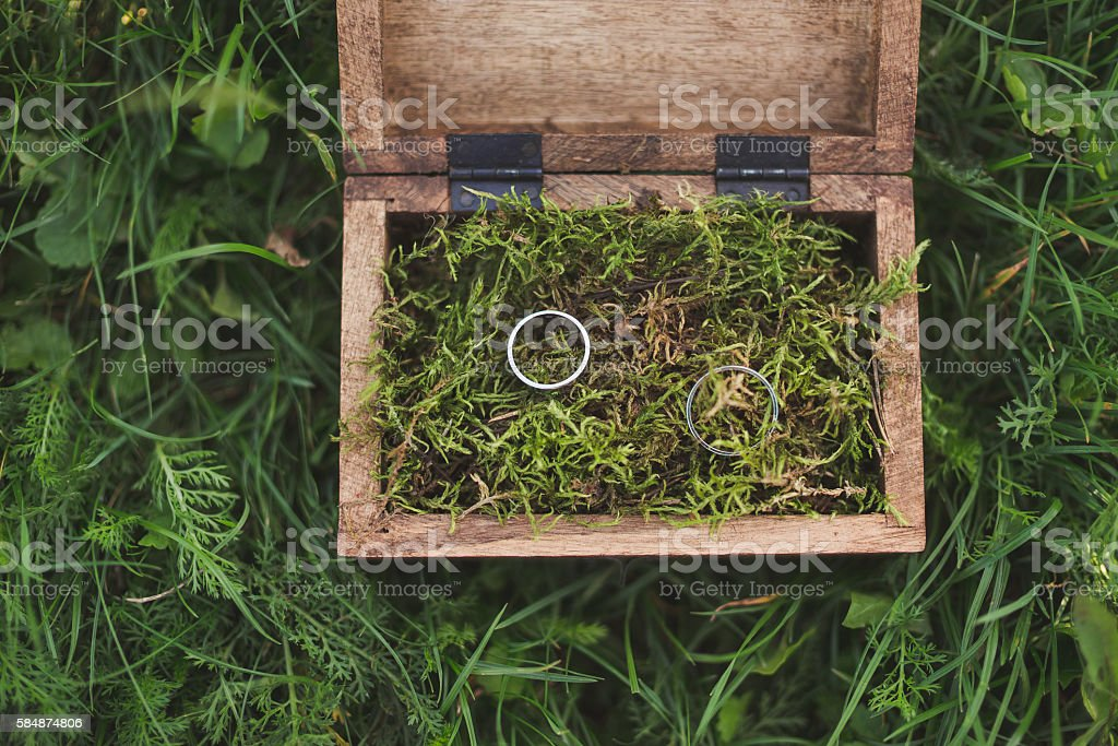 wedding rings in a wooden box filled with moss stock photo