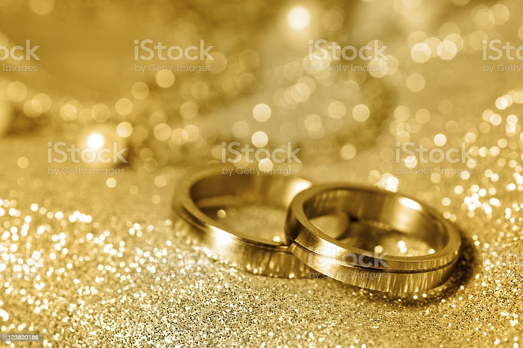 Wedding rings in gold stock photo